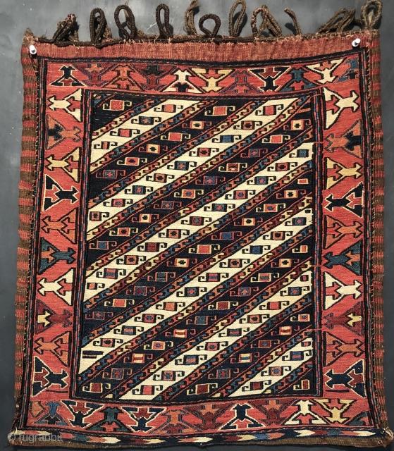 Min 19th  Century shahsavan soumak bagface size 1'11+1'8