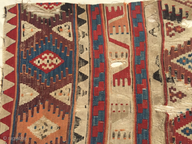 Central Anatolian Aksaray Kilim Fragments Circa 1850 Size 125x77 cm