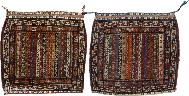 """Antique Persian Ghashghai Bag Face Persia ca. 1910 2'1"""" x 2'1"""" (64 x 64 cm) 2'1"""" x 2'11"""" (64 x 58 cm) Sold as a pair. FJ Hakimian Reference #11167 & 11168"""