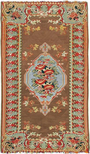 "Antique Persian Senneh Kilim Persia ca.1900 6'10"" x 4'1"" (209 x 125 cm) FJ Hakimian Reference #02265"