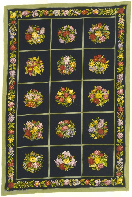 """Antique French Needlepoint Rug France ca. 1900 9'6"""" x 6'4"""" (290 x 193 cm) FJ Hakimian Reference #02181"""