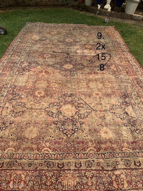 Old Persian kermanshah 9.2x15.8 some patches and hole in one end low pile overall