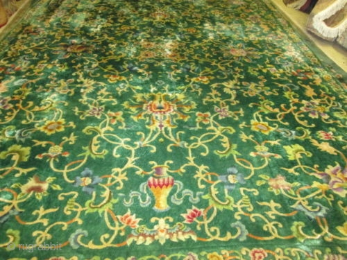Antique Art Deco Chinese Rug.  Size 12'x8'8''. condition great full pile. circa 1930.