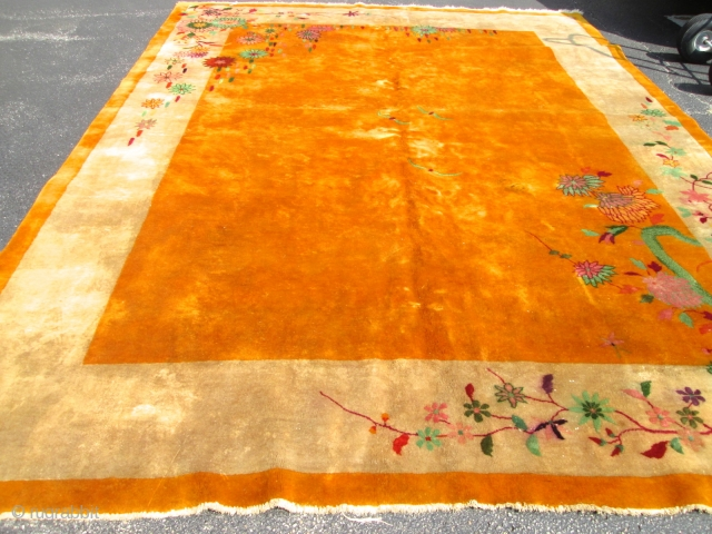 Antique Art Deco Chinese Rug.  Size 8'10''x11'4''. Good Pile.