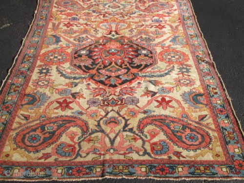 Unusual Antique Persian Malaer Rug.  size 5'1''x6'4''.  condition low even pile need some re pile.