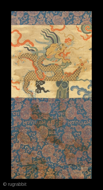 Ming era Chinese silk textile with dragon. See it at Arts: Antique Rug & Textile Show, October 27-29 in San Francisco. http://artsrugshow.net