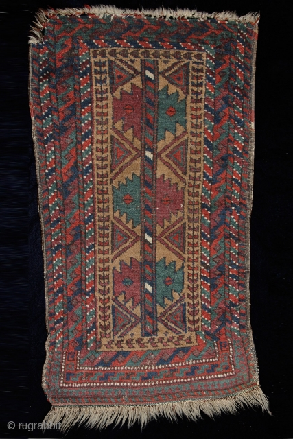 Balouch Balisht Age: late 19th century Origin: Afghanistan Size: 50 cm x 95 cm Info: This small piece has a very tribal feel with its chunky wool and the tree of life pattern in a very  ...