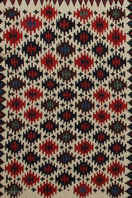 Shasavan Kilim Panel Age: Late 19th century Origin: Persia Size: 105 cm x 183 cm Info: Good strong colours and very good condition. Taken from a complete Mafrash bag.