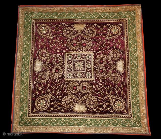 Bichayat Valvet fabric kala Batu Hand work Darbhanga India. Royal Nawab Family Used on Darbar Cort.Very rare Piece.Its size is 172cm x 172cm. Perfect Conditions.(DSC00950).