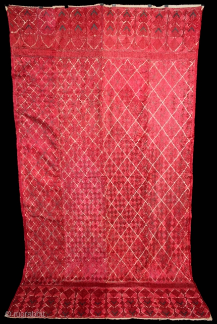 Phulkari from West(Pakistan)Punjab India Called As Wedding Thirma Bagh.Rare Design.Extremely Fine Phulkari.(DSE02230).