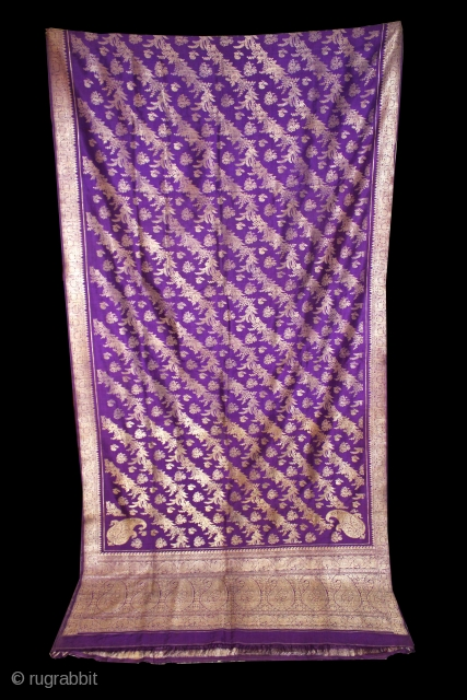 Rare Antique Pitambari Saree hand woven zari (silver treads) saree from Varanasi called As Pitambari Saree of late 19th century.Made to order for some Royal Rajput Family.Extremely Fine Saree.(DSC00990).