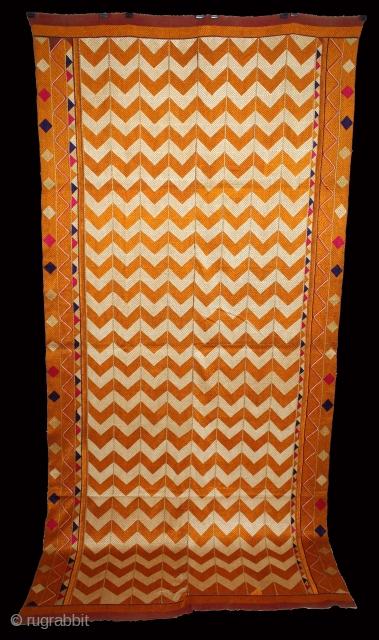 Phulkari From West(Pakistan)Punjab India Called As Laheriya(Wave) Design. Floss Silk on Hand Spun Cotton khaddar Cloth.(DSE02840)