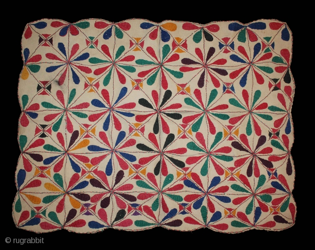"""Antique Kantha embroidery with cotton thread. Kantha coverlet from West Bengal region India.Early 20""""Century.(DCS01070)."""