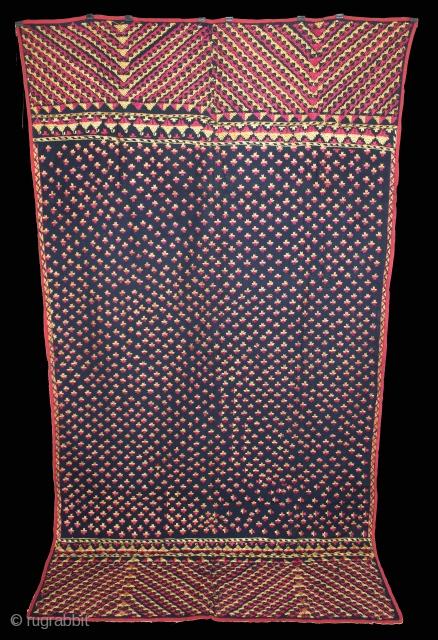 Indigo Phulkari From East(Punjab)India Called As Mughal Buti phulkari.Rare Design.Extremely Fine Phulkari.(DSL02320).