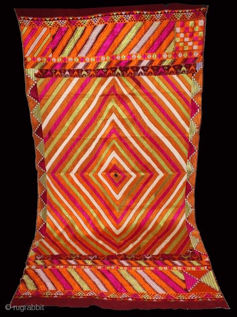 Phulkari from West(Pakistan)Punjab India Called As Brafi Bagh.One of the rare design in Indian Phulkari.(DSE02360).