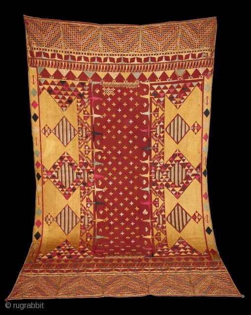 Vintage Sarpallu Phulkari from East (Punjab)India called As Sarpallu(Patang Design). One of the rare design in Indian Phulkari. Extremely Fine Phulkari. Its size is W 152cm X L 248cm.(DSC01300).