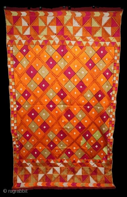 Phulkari from East (Punjab) India Called As Suraj Mukhi Bagh.Very Rare Pattern.Extremely Fine Phulkari.(DSL02450).