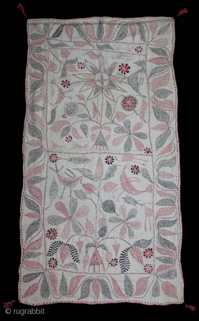 Kantha Quilted Embroidery with cotton thread Kantha Probably From Faridpur District,East Bengal(Bangladesh)region. India.C.1900.Its size is 90cm x 48cm.(DSL03800).