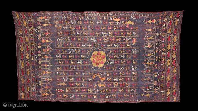 Rare Folk Sainchi Phulkari from East Punjab India District Ferozepur.Rare Design of Phulkari.Condition little bite worn because of age.Its size is W135cm X L245cm.(DSE01405).