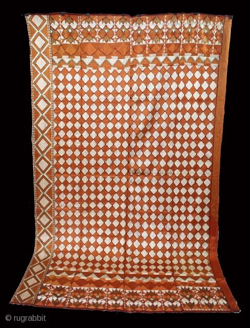 Phulkari From West(Pakistan)Punjab India Called As Rare Barfi Bagh.C.1900. Floss Silk on Hand Spun Cotton khaddar Cloth. Its size is 152cm X 246cm.(DSL05000).