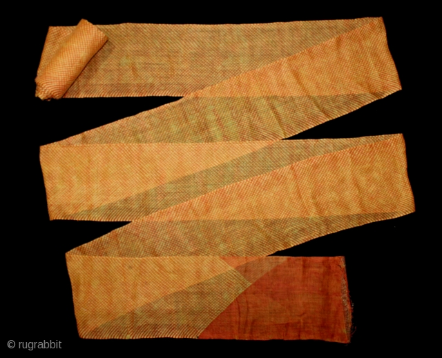 Turban (Pagh) Tie and Dye, Mothara Turban From Shekhawati District Rajasthan India.C.1900.Fine Cotton Mull-Mull.Royals Family of Rajasthan.Length 15 to 18 miter.(DSL03910).