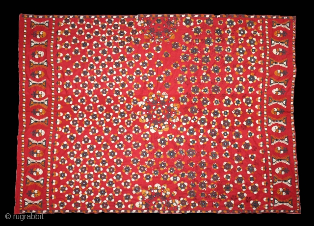 Abochhini Wedding Shawl (Women) From Sindh Pakistan India.C.1900. Silk Embroidery on the Cotton. Its size is 150cm X 206cm.(DSL03950).