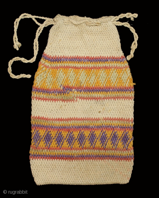 Cotton Hand Knotted Bag, used as a Coin bag and it is Called Ashrafi bag.Form Rajasthan India.Circa 1900.Vegetables color are used in it.(DSL02600).