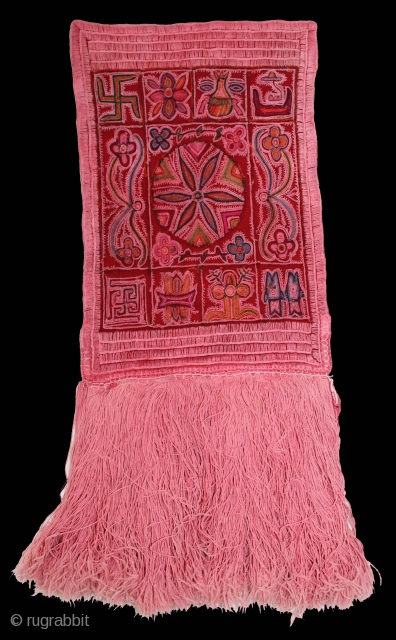 Asta Mangal Chain Stitch Embroidery with Floss Silk and Cotton on Felted Woollen Fabric.From Gujarat,India.Circa.1900.Embroidered by the jain nuns.Used and worshiped by jain community during the auspicious occasions. Mostly kept at Jain  ...