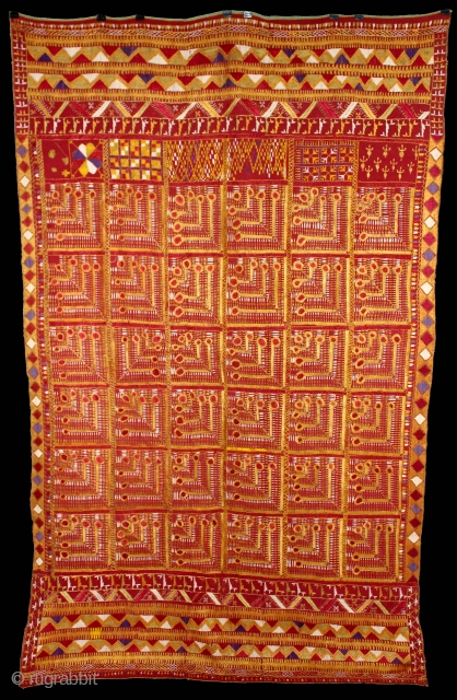 Phulkari from East(Punjab) India Called As Mor Pankh Design phulkari. One of the rare design in Indian Phulkari.(DSL02120)