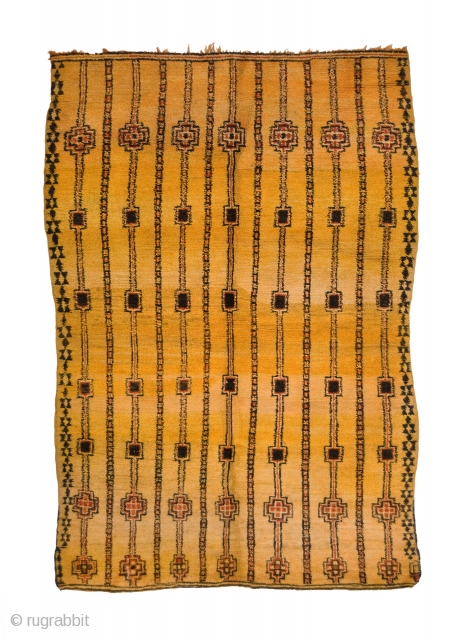 TM 1682, unusual yellow ground + quite fine Zemmour pile rug, north-western foothills of the Middle Atlas, Morocco, mid 20th century, 240 x 165 cm (8' x 5' 6'').  www.berber-arts.com