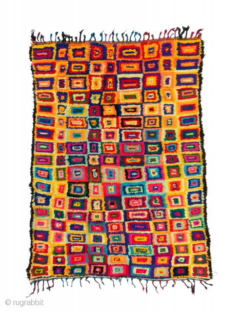 TM 1999, extremely colourful pile rug made from industrial yarns + wool, probably Azilal region, central High Atlas, Morocco, ca. 2000, 210 x 160 cm (6' 11'' x 5' 4''). www.berber-arts.com