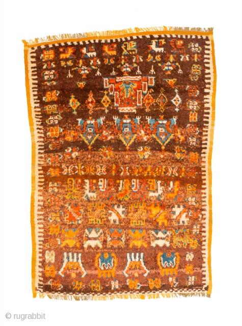 tm 2004, rare Ait Ouaouzguite pile rug, Jebel Siroua region, southern Morocco, mid 20th century, 160 x 110 cm (5' 4'' x 3' 8''). www.berber-arts.com