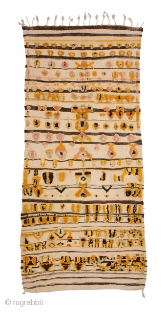 TM 1965, Zenaga mixed technique rug, probably used as a prestige cover, Jebel Siroua region, southern Morocco / Pre-Sahara, 1980s, 265 x 130 cm (8' 8'' x 4' 4''). 
