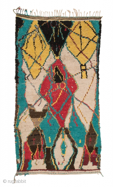 tm 1876, pile rug from the Azilal region, central High Atlas, Morocco, 1990/2000, 225 x 120 cm (7' 6'' x 4'). 