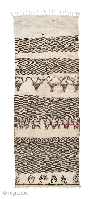 tm 1858, pile rug from the Azilal region, central High Atlas, Morocco, 1990s, 360 x 135 cm (11' 10'' x 4'6''). Published in 'Carpet Collector' 4/2013, p. 46.  www.berber-arts.com