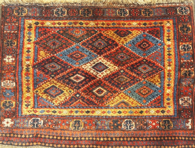 Large antique Jaf bag-face, thick lustrous pile. Great condition, great strong colours 42in by 30in