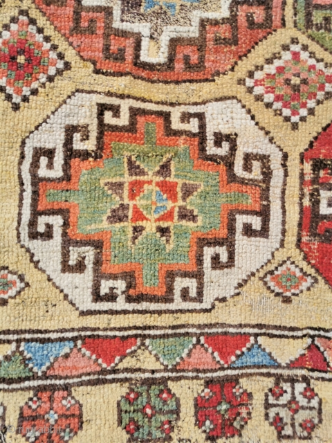 Late 18th-early 19th century Konya fragment, mounted Strong saturated colours 58in by 52in
