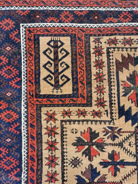 Antique Belouch prayer rug, in good condition, some black wool corrosion. 60in by 33in