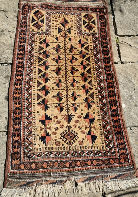 Late 19th century Belouch prayer rug, great design Re-selvedged. Several small areas of moth damage, condition reflected in the price 28in by 56in