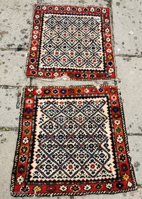 Pair of N.W.Iran/South Caucasian bagfaces, dated Some condition issues, but lovely colours and graphic appeal Each 20in by 20in