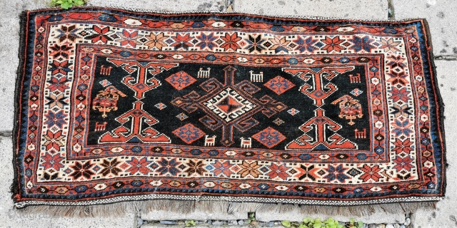 Early 20th century Veramin area mafrash panel Some old repair, but otherwise good condition. Good colours 45in by 20in