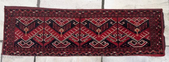 Beshir/Ersari torba. Good colours, great condition, striking design. 17in by 59in