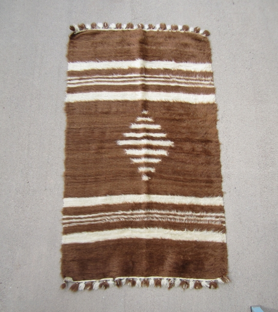 Child's Siirt blanket.....Southeast Anatolia ....mid 20th C....angora goat hair on cotton string....very unusual ....Dowry piece in un-used condition...