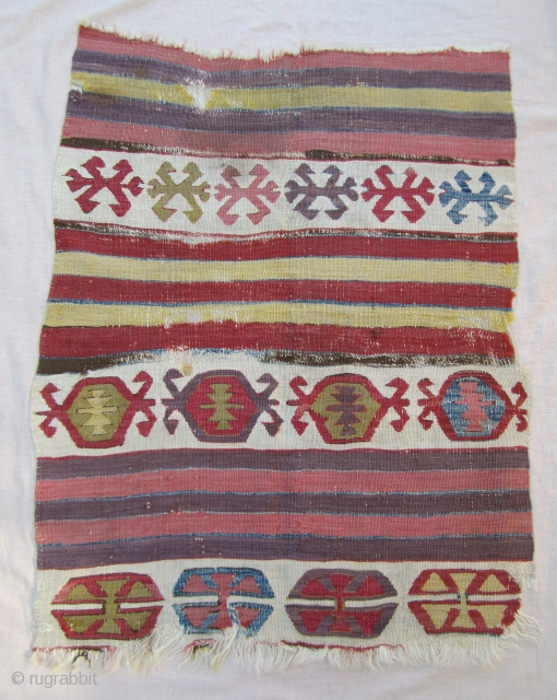 Central Anatolian kilim fragment....pre-1800....mounted.