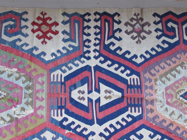 "Central Anatolian Kilim fragment...before 1825....3'4"" x 7'10""(100 x 240cm ) all wool....all vegetal dyes with excellent patina ..... condition as found and shown"