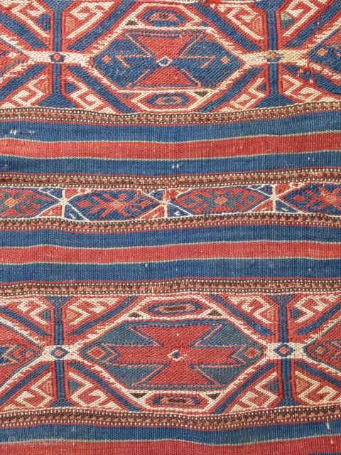 "Northwest Anatolian cuval...Bergama-Balikesir area...late 19th C.....vegetal dyes...all wool...reciprocal brocading ,sumac,cicim ....2'x 3'4"" (60 x 100cm )...good condition as found ."