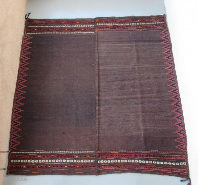 "Balouch Kilim Sofra.....circa 1930....2-pieces joined....5'9"" x 5'9"" ( 175 x 175 cm )...mixed weaving techniques...all wool...vegetal dyes / very small amounts of analine orange and fuchsine in the end panels.... excellent condition  ..."