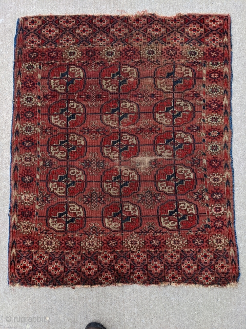 Antique Tekke Turkman wedding rug. Battered and bruised it would be great for use as a scatter rug. Freshly washed.  3ft 1in x 3ft 10in  Cheers!