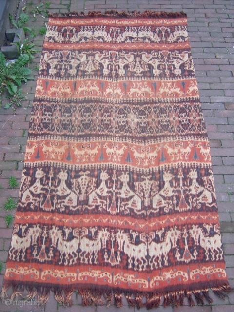 Indonesian Ikat Size: 130x240cm (4.3x8.0ft) Natural colors