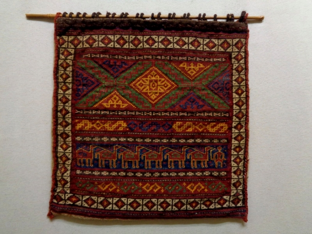 Baluch Soumakh Bag Complete Size: 55x55cm Natural colors, circa 80 years old